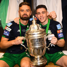 Tralee native Gary O'Neill, right, and Greg Bolger, of Shamrock Rovers celebrate winning the extra.ie FAI Cup Final against Dundalk at the Aviva Stadium in Dublin last Sunday. The game ended 1-1 after extra-time with O'Neill scoring the decisive penalty in the shoot-out. Photo by Sportsfile