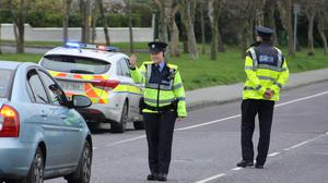 Gardaí operating a traffic checkpoint in Tralee.