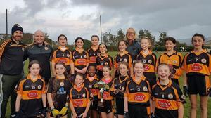 Austin Stacks U12 Girls Celebrate their victory over Churchill in the U12 Town League Div 1 Cup Final last Tuesday night.