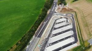 Aerial view of the new Park and Share facility on the M1