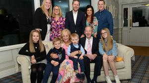 Tony and Joan Halton with their grandchildren and family at their 40th wedding anniversary at Donegans Monasterboice Inn Photo Jimmy Weldon