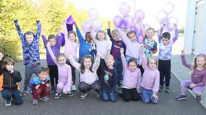 Kids from St. Oliver's school taking part in Purple Day for Amelia.