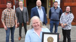 Members of the band, The Urge, Denver Rafferty, Eamonn Toal, Stephen Hand, John Gray and Sean McGeeney with Paula Mullen at The Dundalk School of Music, Blackthorn Business Park. Photo: Aidan Dullaghan/Newspics