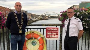 Mayor James Byrne pictured with Dermot McConnoran, Officer in Charge, Drogheda Coast Guard unit.