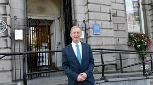 Dave Duffy outside the Bank of Ireland at the Tholsel where he started 38 years ago. Photo Jimmy Weldon