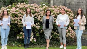 Four St Vincent's students who achieved 625 points in their Leaving Certificate with Principal Deirdre Matthews, from left, Jasmine Cavaroli from Ravensdale who has accepted a place in Edinburgh to study Economics and Accounting, Sorcha Cassidy from Blackrock who has accepted a place in Galway to study medicine, Aoife O'Brien from Blackrock who has accepted a place in UCD to study engineering and Ruth Kelleher from Togher who has accepted a place in TCD to study Pharmacy.
