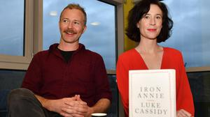 Luke Cassidy and Niamh Campbell at the launch of Luke's book, 'Iron Annie' held in An Táin. Photo: Ken Finegan/www.newspics.ie