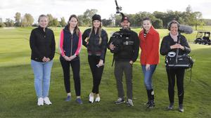 Deirdre O'Brien, Tourism Ireland (second left); and NBC Golf Channel host Alexandra O'Laughlin (third left); with a film crew during filming.