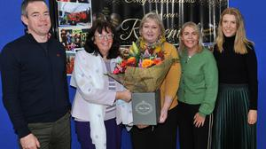 Assistant Principal, Muirne Lawlor (centre), on her last day of working after 38 years of service in St. Joseph's National School, receives a presentation from Principal, Roz Morris, along with Teachers, Anthony Keenan, Avril Callan and Karol Caulfield. Photo: Aidan Dullaghan/Newspics