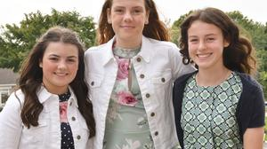 Ava Dullaghan, Aoife Lawless and Jemma Harvey who were Confirmed by Fr. Gerry Campbell and Fr. Brian MacRaois in Knockbridge. Photo: Ken Finegan/www.newspics.ie