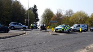 An accident at the Bridge of Peace junction with the Rathmullen Road