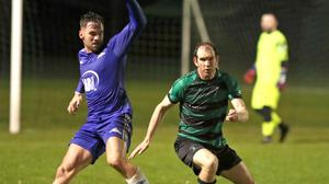 Niall Gates (left) in action for Chord Celtic against Albion Rovers in their previous match.