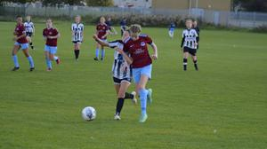 Amy Clarke in action for Drogheda Girls U-16s in their recent match against Raheny.