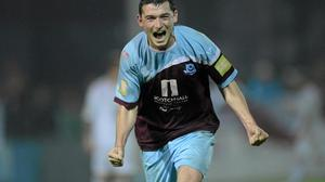 Ryan Brennan after scoring a goal for Drogheda United against Sligo Rovers in October 2012. Picture: Paul Mohan / SPORTSFILE