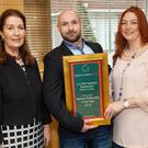 Paul and Edwina Hynes of La Cote at the Awards in Bord Bia, receiving the Seafood Restaurant of the Year Award from Georgina Campbell x