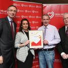 Barry Dempsey, CEO, Irish Heart Foundation, Lorraine Gannon and Paul Pringle, Lake Region Medical and Tony O'Brien, HSE