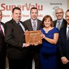 Joe O'Reilly, Ruairi Crawford and Catherine O'Reilly, were presented with the finalist award by Martin Kelleher, SuperValu Managing Director, Eoin MacManus, Three award sponsor and Michael Morgan, SuperValu Sales Director