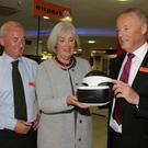 Murtagh Joyce, Madeleine Quirke CEO Wexford Chamber and Derek Joyce with the just released Sony VR Headset for the Playstation at the recent Wexford Chamber Business After Hours event at Joyces