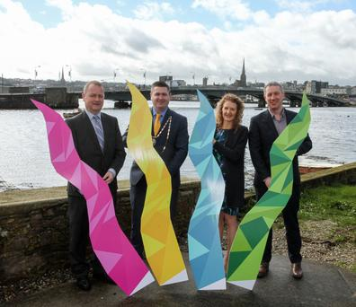 At the launch of the Wexford Business Awards. From left: Tom Enright, chief executive of Wexford County Council, Karl Fitzpatrick, president of Wexford Chamber, Tracey Morgan of Wexford Chamber and Niall Reck of Graphedia