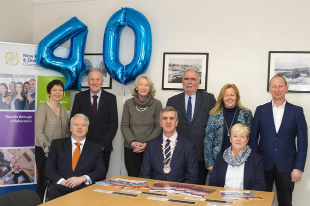 New Ross & District chamber of Commerce 40th birthday launch at the Rising Tide Centre. Sean Connick, John McSweeney president and Teresa Delaney. Back; Margaret Goldsmith, Ernest Levingstone, Ann Carton, Mark Minihan, Mary Browne and Lorcan Kinsella