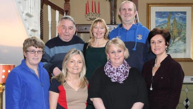 Front row, Bernie Higgins, Pauline Oakes, Anne Doyle and Louise Carley; Back row, Pat Coll, Kathleen Nolan and John Murray