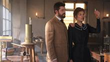 Sam Riley as Pierre Curie and Rosamund Pike as Marie Curie in Radioactive