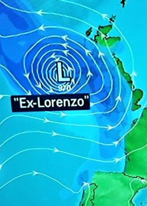 Lorenzo was a Category 5 hurricane and was the first of its kind ever recorded so far east in the North Atlantic Ocean