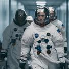Lukas Haas as Michael Collins, Ryan Gosling as Neil Armstrong and Corey Stoll as Buzz Aldrin in First Man