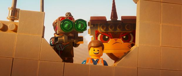 Lucy (voiced by Elizabeth Banks), Emmet (Chris Pratt) and Unikitty (Alison Brie) in The Lego Movie 2