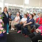 Helen Battigan giving a summer flowers arranging demonstration in New Ross Library last Tuesday night