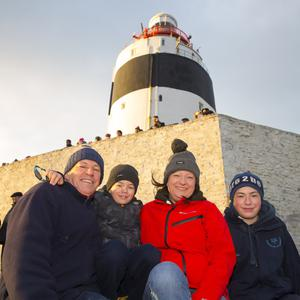 George, Liz, Jack and Luke Nolan from Ballyhack who were at Hook Lighthouse for the recent 'Arrow Ceremony'