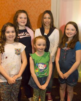 Enjoying their night at the Clongeen NS fashion show fundraiser in the Horse and Hound were (front) Leah Kelly, Newbawn; Ava McCrea, Longraigue and Philippa Coleman, Horetown; (back) Ellie Ann O'Grady, Clongeen and Issie Christopher, Wellingtonbridge