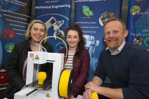 Michelle Ryan and Eilish Cullen from Wellingtonbridge who were at the CAO Information Evening at Waterford Institute of Technology (WIT) Main Campus, pictured above with Jason Berry, WIT Engineering Department.
