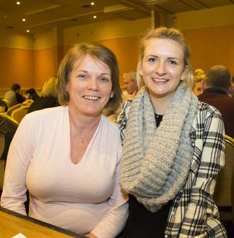 Enjoying their night out at the table quiz in the Horse and Hound, Ballinaboola, organised by Gusserane ladies football club, were Geraldine Ryan, Clonmines and Aine Kinsella, Tintern.