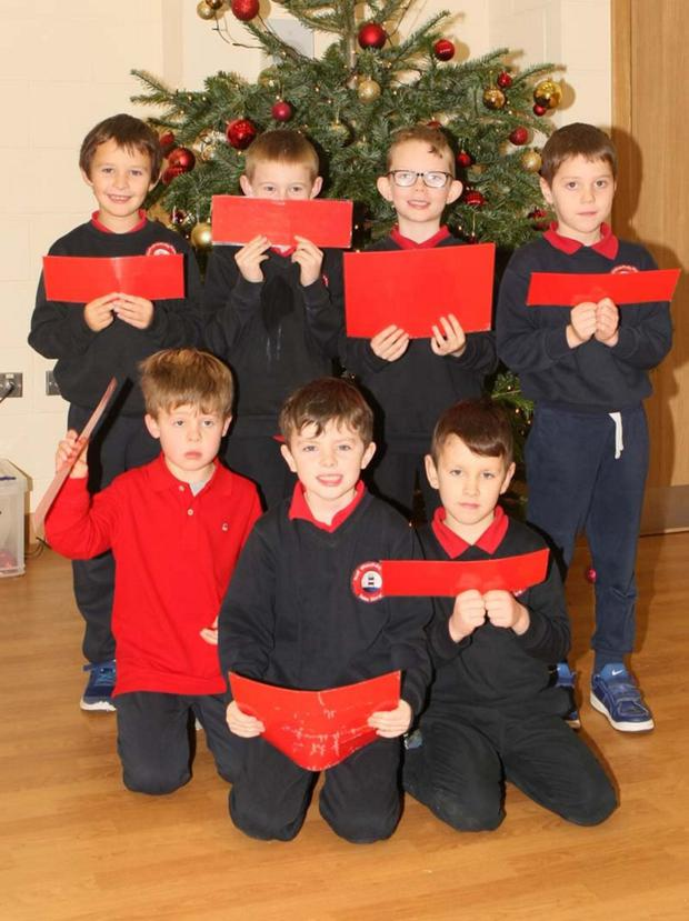 Pupils from Poulfur NS who were taking part in their school's Nativity play: (back) Patrick Fitzgerald, Olly Bassett, Daniel Tubritt-Foley, Oisín Roche; (front) Evan Hickey, Seán Barry and Miquel Monte