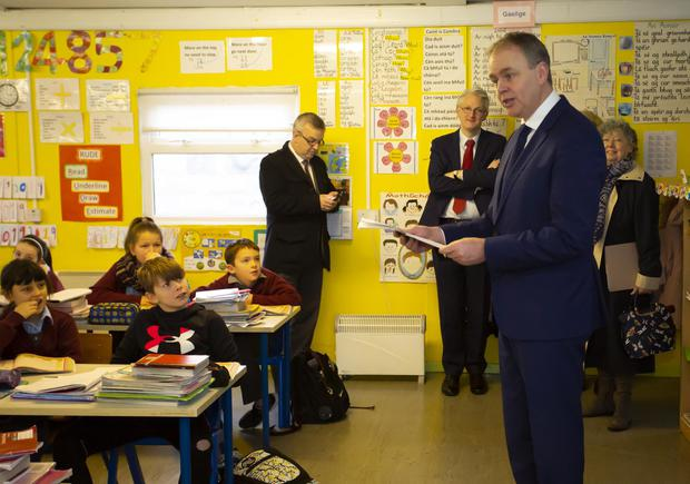 Minister for Education Joe McHugh addressing pupils during his visit to St Canice's school