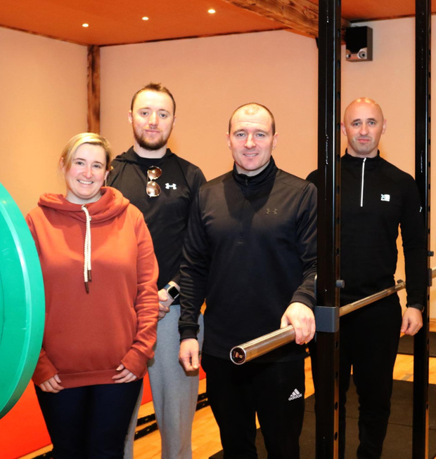 Enjoying the open day in RossFit gym in Woodbine Industrial Estate were (from left) Sinead O'Brien and Tomas Moran with managers Emmett Doherty and Brian Mullett