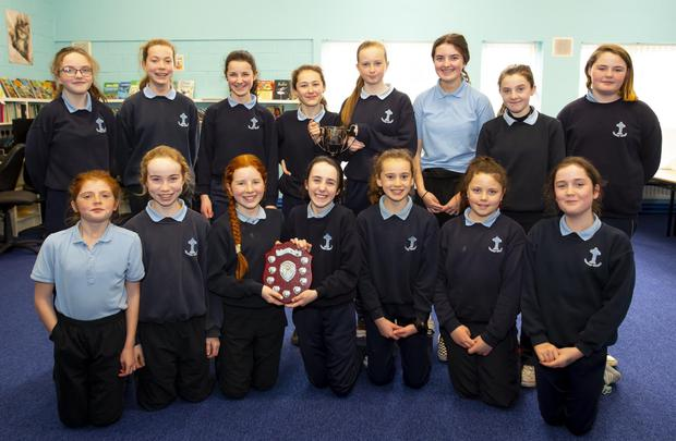 Girls from Clongeen NS who were under-12 and under-14 county football champions. Front - Laura McCarthy, Aoife Kehoe, Ruth Redmond, Emma Reville, Ciara Farrell, Amy O'Sullivan and Lily Mullins. Back - Philippa Coleman, Katie Kehoe, Keela Daly, Abbie Casey, Lauren Cullen, Veronica Delahunty, Sarah Bennett and Sarah Kate Hopkins