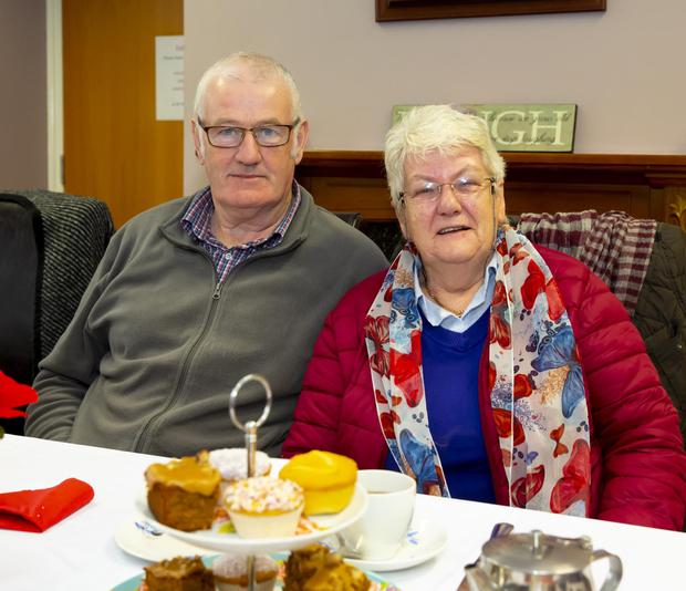 Enjoying a cuppa at the coffee morning in St Louis Day Care Centre, Ramsgrange were Seamus Ryan, Boddern and Gaye Howlin, Nuke.