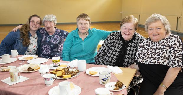 Enjoying 'The Big Hello' tea party organised by the active retirement group in the Youth Centre were Amber Roche, Catherine Whitty, New Ross; Marie Holohan, Rathnure; Maura Phelan, New Ross and Joan Whelan, New Ross