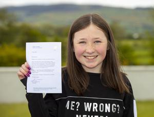 Gemma Doyle (11) from Ballygalvert with her letter from Taoiseach Leo Varadkar