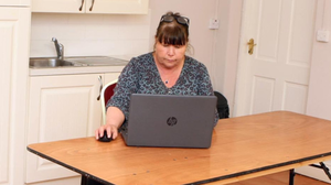 Laurene Dryden at one of the remote working hubs available at St Mary's Hall in Fethard