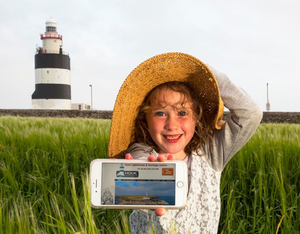 Ciara O'Leary with the iconic lighthouse in the background
