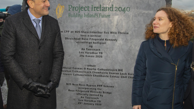 An Taoiseach Leo Varadkar and Rose Katherine Kennedy Townsend perform the official opening of the Rose Fitzgerald Kennedy Bridge