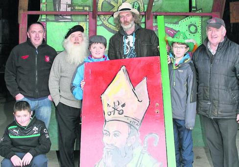 Preparing the Whitechurch Float last Sunday were Jake and Declan Dunne, Danny Brennan, Robbie, Joe and Jack Delaney and Seamus Kane