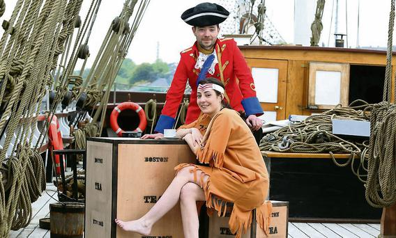 Indian Deborah Reidy and Red Coat Peter Reidy aboard the Dunbrody ship. Photo: Patrick Browne