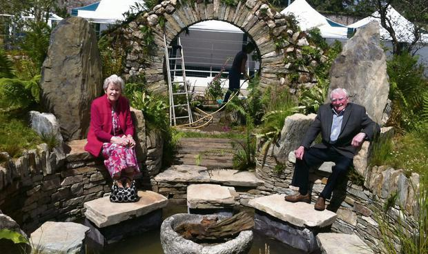 Mary Reynolds's parents Seán and Teresa at a reconstruction of Mary's Chelsea garden at the film set in Dublin.