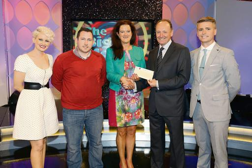 l-r: Sinead Kennedy,host; Frank Jordan; Lotto selling agent; Joan Bennett; Declan Harrington, The National Lottery and Brian Ormond, game show host. Photo: Mac Innes
