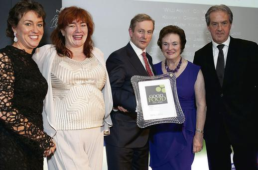 Margaret Jeffares, founder of Good Food Ireland; Fiona Falconer, of Wild About; An Taoiseach, Enda Kenny; Roisin O'Doherty (Fiona's mother); and Aidan Cotter, Chief Executive of An Bord Bia, at the Good Food Ireland awards in The Shelbourne Hotel.