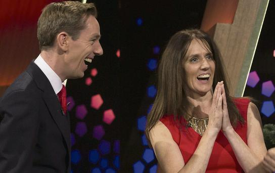 Lena Kelly with Late Late Show host Ryan Tubridy